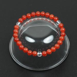 【メール便 送料無料】天然石 ブレスレット カーネリアン+水晶3個 6mm玉【紅玉髄/クリスタルクォーツ 6ミリ数珠】 ┃