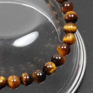 【メール便 送料無料】天然石 ブレスレット タイガーアイ 6mm玉【虎目石 6ミリ数珠ブレス/パワーストーン】 ┃
