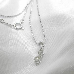 0.3ctダイヤのトリロジーネックレス★K18WG:3週間