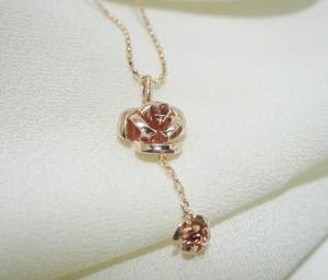薔薇K10ピンクゴールドネックレス:5日以内発送