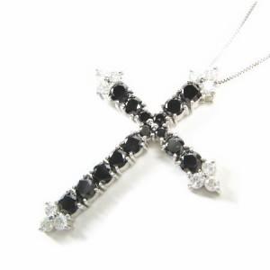 K10WG*ホワイトゴールドブラック&ホワイトダイヤモンド総カラット2ctゴージャスクロスネックレス 送料無料