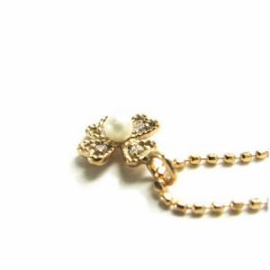 ピンクゴールド*K18PG天然ダイヤモンドSUKURAパールネックレス 送料無料 クリスマス ギフト
