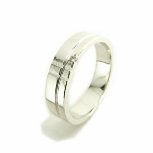 刻印対象商品 天然ダイヤモンド1ピースダブルラインシルバーリング(プラチナコーティング) 送料無料