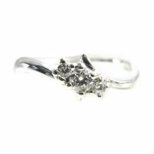 K18WG*ホワイトゴールド天然ダイヤモンド0.11ct3ストーンデザインリング 送料無料