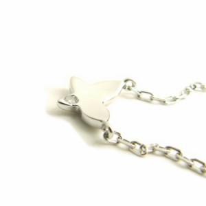 ホワイトゴールド*K10WG羽ばたくバタフライ(蝶々)♪天然ダイヤモンドネックレス 送料無料 クリスマス ギフト