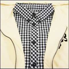 ニーウ ×チェックシャツ レイヤードジップパーカー アイボリー (NIR)