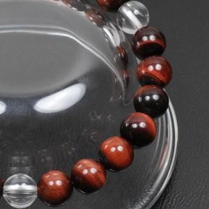 【メール便 送料無料】天然石 ブレスレット レッドタイガーアイ+3ポイント水晶 8mm玉【赤虎目石*クリスタル 8ミリ数珠】 ┃