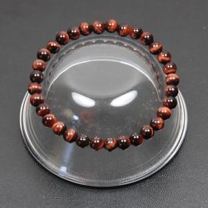 【メール便 送料無料】 天然石 ブレスレット レッドタイガーアイ 6mm玉【赤虎目石 6ミリ数珠ブレス】 ┃