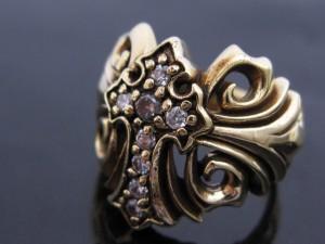 【燻しゴールド】金色のリリークロスリング/リリーデザイン/ブラス&SV925RING/HR/ジルコニア/天然石パワーストーン指輪