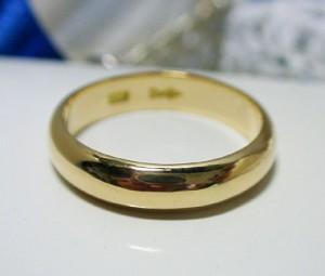 【男女兼用】K24(純金)甲丸リング(7.5g-4.5mm幅):送料無料/文字入れ無料