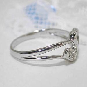 ハート&ハートのK10WGダイヤモンドリング