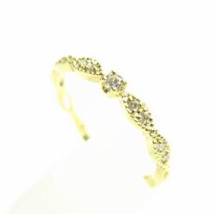 K18*ゴールド天然ダイヤモンド0.08ctレトロ調ミル打ちデザインリング 送料無料 クリスマス ギフト