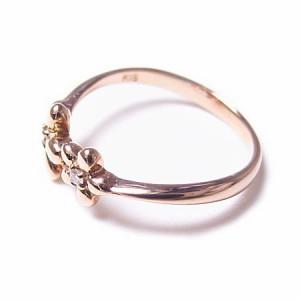 K18*ピンクゴールド天然ダイヤモンドプチフラワーピンキーリング『ジュエリーケース付』 送料無料 クリスマス ギフト
