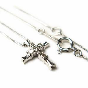 スーパークロス天然ダイヤモンドネックレスK18WG【ケース&保証書付】 送料無料