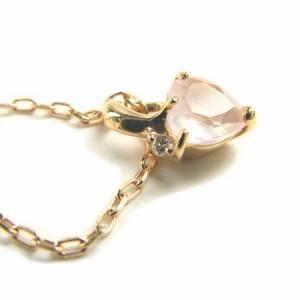ピンクゴールド*K10PG幸せハートローズクオーツダイヤ付きネックレス 送料無料