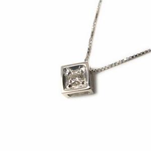 スクエア天然ダイヤモンド0.07ctネックレスK18WG【ケース&保証書付】 送料無料