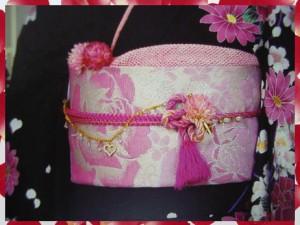 振袖成人式&着物に お仕立上がり全通袋帯薄ピンク地大輪薔薇