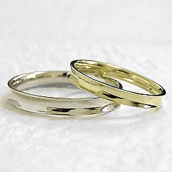 ペアリング 緩やかに反った指輪 結婚指輪 マリッジリング イエローゴールドK10 ホワイトゴールドK10 2本セット 送料無料