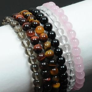 【メール便 送料無料】 天然石 ブレスレット ローズクォーツ 6mm玉【紅水晶 6ミリ数珠ブレス】 ┃