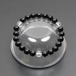 【メール便 送料無料】天然石ブレスレット オニキス+3ポイント水晶 8mm玉【黒瑪瑙/クリスタルクォーツ 8ミリ数珠ブレス】 ┃