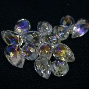 虹色の輝きアクアローラ水晶K14WGピアス