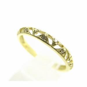 K18*ゴールド天然ダイヤモンド0.05ct刳り抜きリーフレトロ調デザインリング 送料無料 クリスマス ギフト