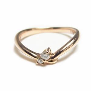 K18*ピンクゴールド天然ダイヤモンドウェーブラインピンキーリング『ジュエリーケース付』 送料無料