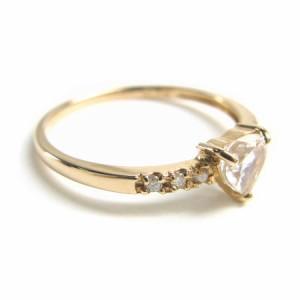 ピンクゴールド*K18PG6月誕生石ハートカットブルームーンストーン天然ダイヤモンドリング 送料無料