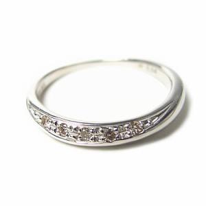 K18WG*ホワイトゴールド天然ダイヤモンド5ストーンピンキーリング『ジュエリーケース付』 送料無料