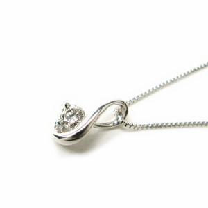 天然ダイヤモンド0.07ctデザインダイヤホワイトゴールドネックレスK18WG 送料無料