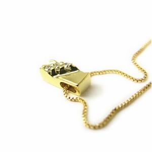 K18*ゴールド天然ダイヤモンドプレートラインネックレス 送料無料