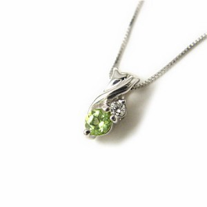 K18WG*ホワイトゴールド天然ダイヤモンド×ペリドットデザインネックレス 送料無料