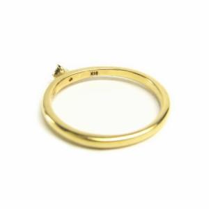K18*イエローゴールド天然ダイヤモンド0.05ctシンプル4本爪セッティングピンキーリング 送料無料