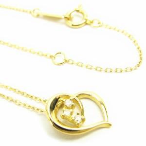 K18*ゴールド天然ダイヤモンド0.03ctエレガントシェイプハートダイヤ ネックレス レディース 送料無料