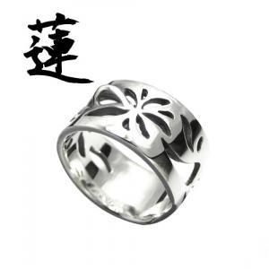 虚ろに咲くハスの花 シルバーリング 5号〜15号 【蓮 -ren-】 メンズ レディース 指輪 和風 アクセサリー 【ブランド仁-ZIN-】