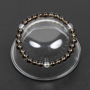 【メール便 送料無料】天然石 ブレスレット スモーキークォーツ*水晶3個 数珠 6mm玉【クリスタルクォーツ 6ミリ数珠ブレス】 ┃