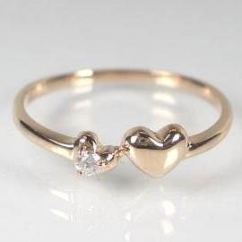 小さなぷっくりハート K10ピンクゴールド/K10WGダイヤモンドリング:送料無料