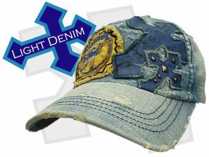 帽子 キャップ メンズ 帽子 デニム キャップ ダメージデニム クロス 十字架 ワッペン 男女兼用