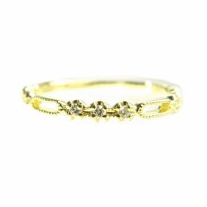 K18*ゴールド天然ダイヤモンド0.06ctミル打ちスタイリッシュデザインリング 送料無料