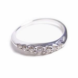 K18WG*ホワイトゴールド天然ダイヤモンド0.11ct7ストーンピンキーリング『ジュエリーケース付』 送料無料