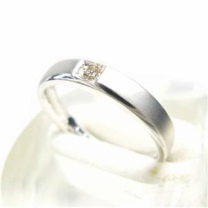 K10WG*ホワイトゴールド一粒天然ダイヤモンド0.05ctマットリング 送料無料