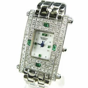 ヴァレンチノロレンタ天然エメラルド使用スクエアー腕時計VR112EM鑑別書付き 送料無料