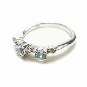 K18WG*ホワイトゴールド天然ダイヤモンド&ブルートパーズピンキーリング『ジュエリーケース付』 送料無料