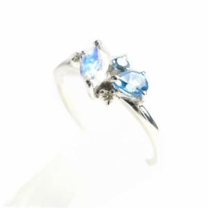 K18WG*ホワイトゴールド天然ダイヤモンド&ブルートパーズ&ブルームーンストーンリング 送料無料