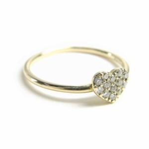 ゴールド*K10天然ダイヤモンド0.1ctキュート♪ハートパヴェリング 送料無料