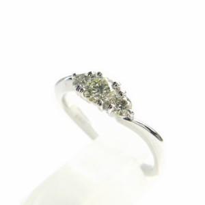 K18WG*ホワイトゴールド天然ダイヤモンド0.33ct豪華!!3ストーンデザインリング 送料無料