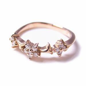 K18*ピンクゴールド天然ダイヤモンド0.1ctフラワーピンキーリング『ジュエリーケース付』 送料無料 クリスマス ギフト