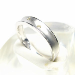 K10WG*ホワイトゴールド天然ダイヤモンド0.03ctスリースターマットリング 送料無料