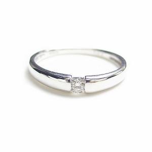 K18*ホワイトゴールド天然ダイヤモンド0.05ctシンプルピンキーリング『ジュエリーケース付』 送料無料