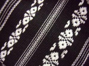 浴衣&着物に 簡単粋な男物男性ワンタッチ結び角帯献上柄黒(日本製)